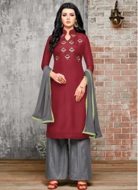 Embroidered Work Crimson and Grey Satin Silk Palazzo Designer Salwar Kameez