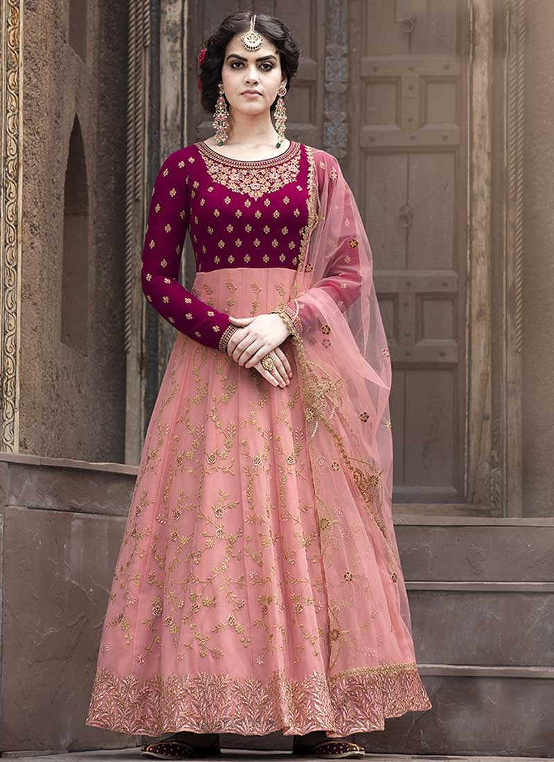 Embroidered Work Crimson and Salmon Faux Georgette Long Length Anarkali Salwar Suit