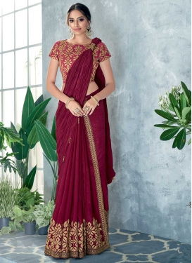 Embroidered Work Crush Designer Contemporary Style Saree For Ceremonial