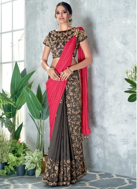 Embroidered Work Crush Grey and Rose Pink Half N Half Trendy Saree