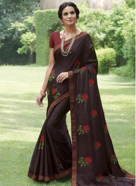 Embroidered Work Designer Contemporary Saree