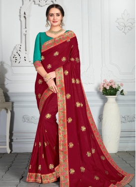 Embroidered Work Designer Contemporary Style Saree