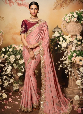 Embroidered Work Designer Contemporary Style Saree For Bridal