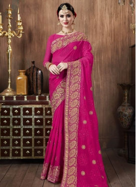 Embroidered Work Designer Contemporary Style Saree For Casual