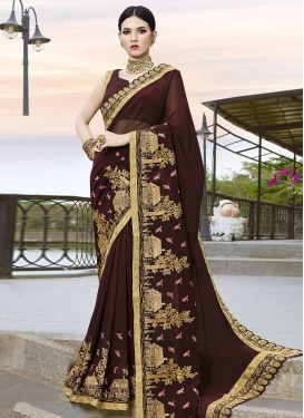 Embroidered Work Designer Contemporary Style Saree For Festival