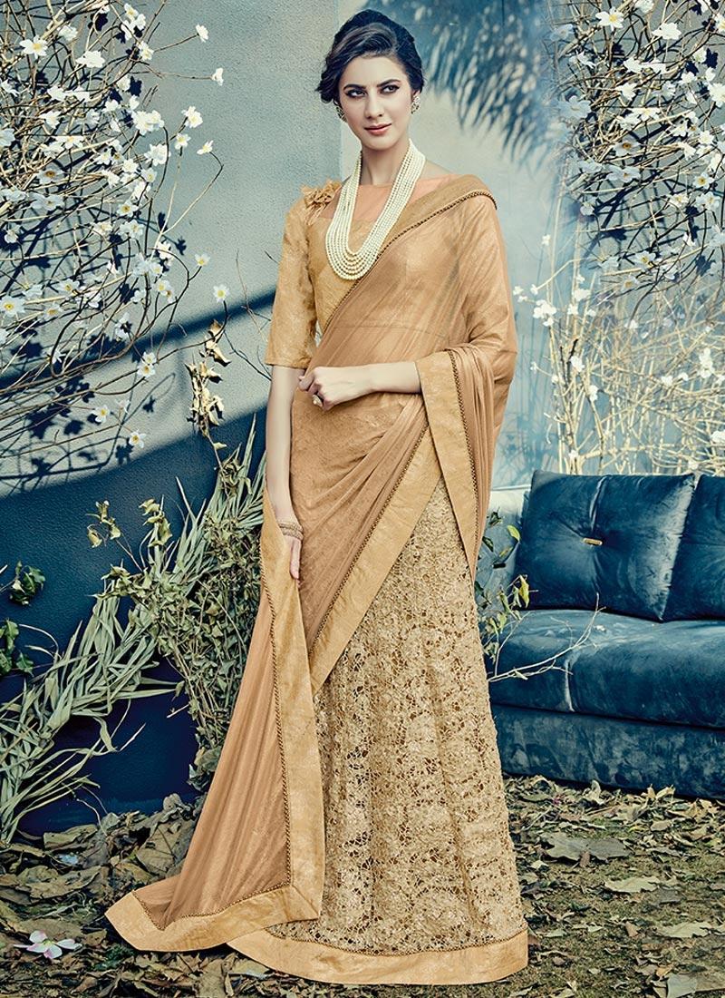 Embroidered Work Designer Lehenga Saree For Ceremonial