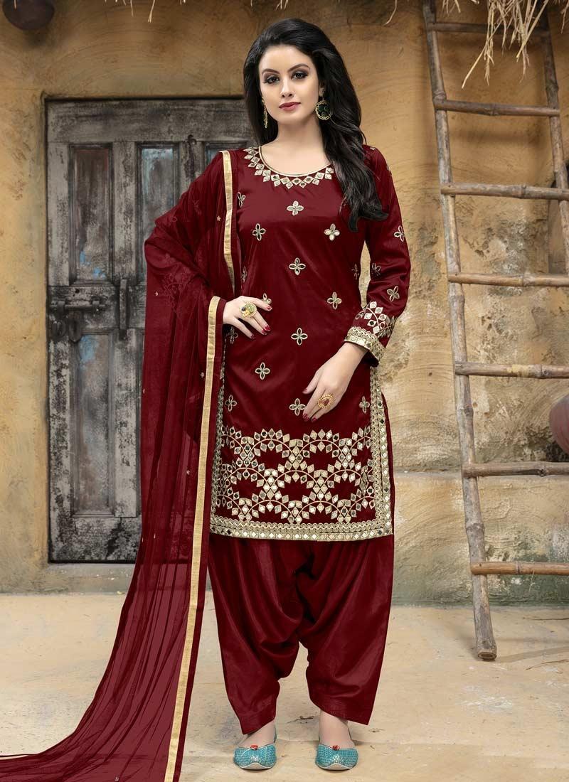 Embroidered Work Designer Patiala Salwar Suit