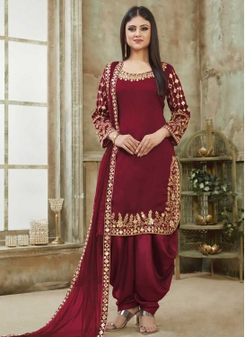 Embroidered Work Designer Semi Patiala Salwar Suit