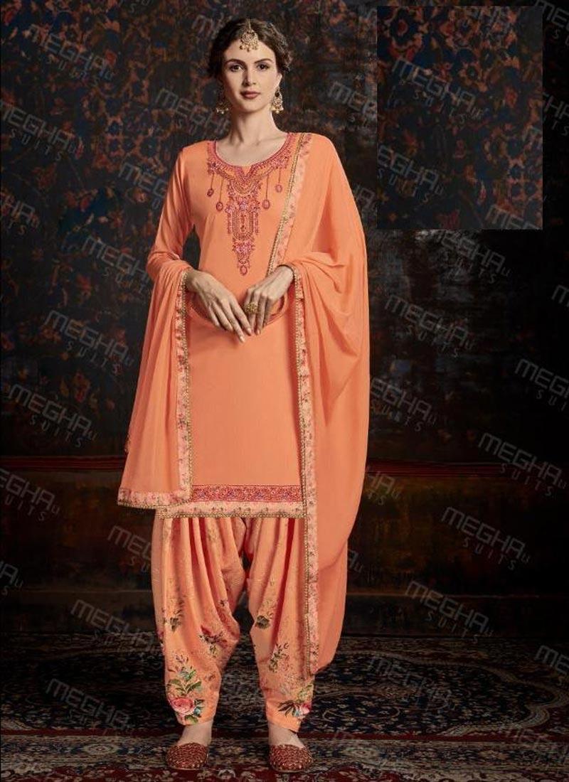 Embroidered Work Designer Semi Patiala Suit