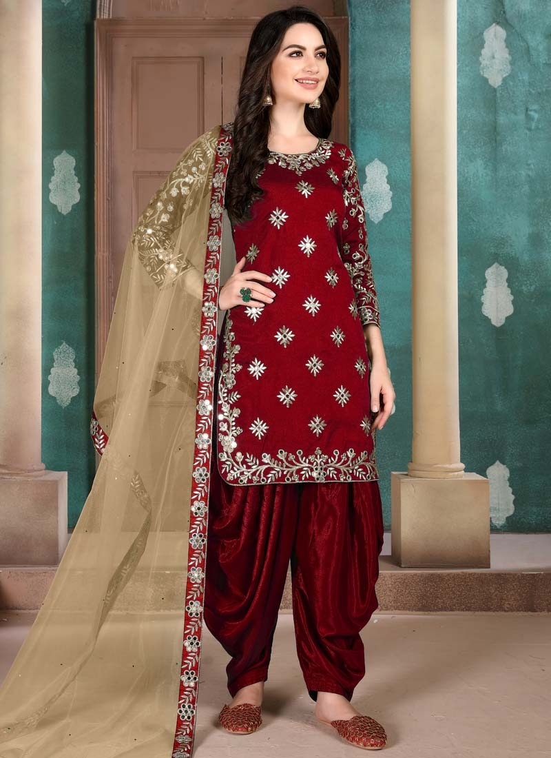 Embroidered Work Designer Semi Patiala Suit For Ceremonial