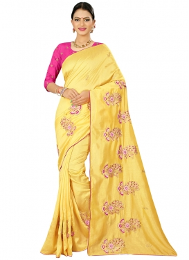 Embroidered Work Designer Traditional Saree For Casual