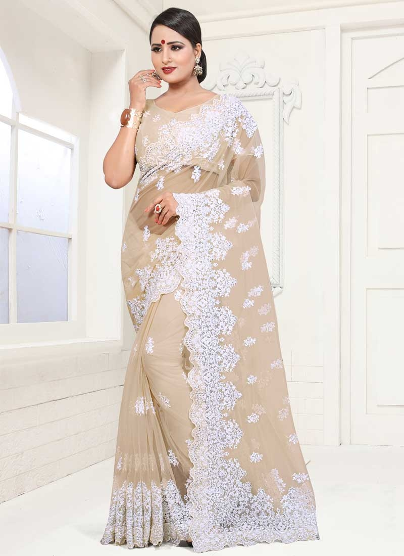 Embroidered Work Designer Traditional Saree For Festival