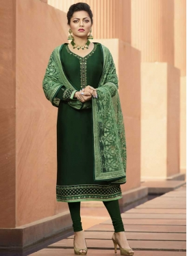 Embroidered Work Drashti Dhami Trendy Churidar Salwar Suit