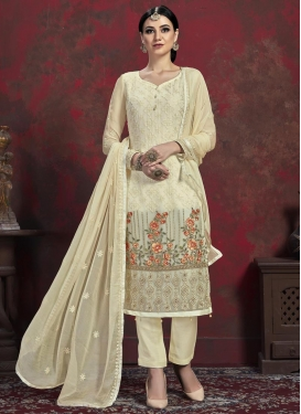 Embroidered Work Faux Chiffon Pant Style Pakistani Salwar Kameez