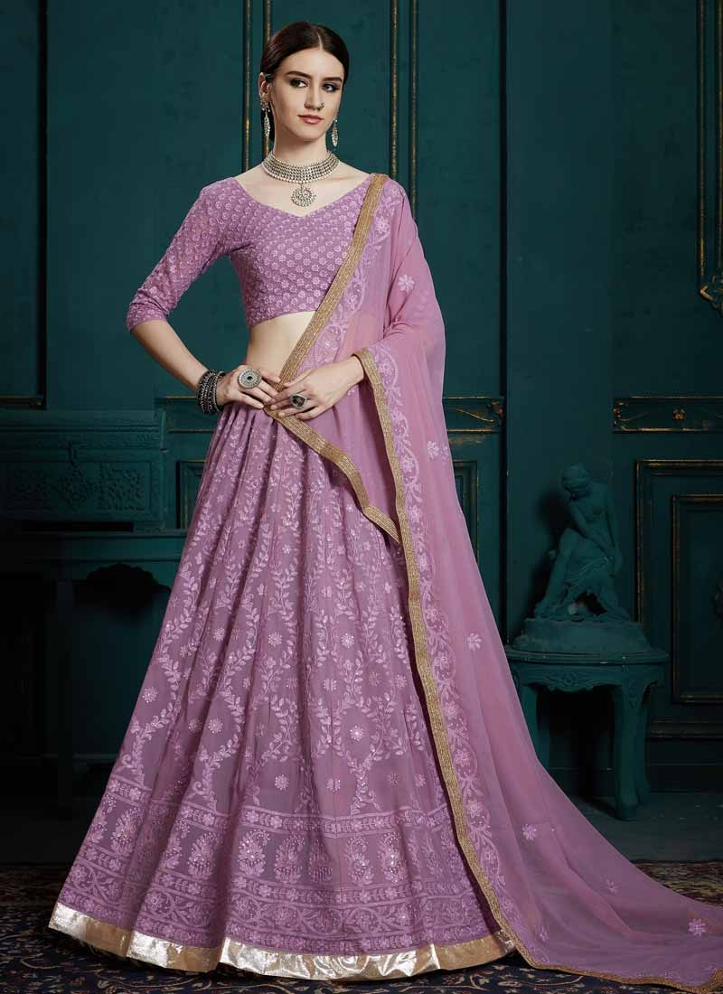 Embroidered Work Faux Georgette A - Line Lehenga