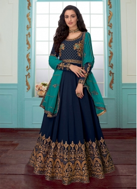 Embroidered Work Faux Georgette Anarkali Salwar Kameez