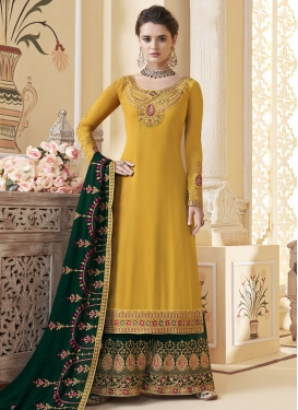 Embroidered Work Faux Georgette Bottle Green and Mustard Palazzo Style Pakistani Salwar Kameez