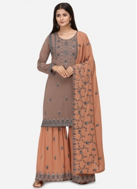 Embroidered Work Faux Georgette Brown and Peach Sharara Salwar Suit