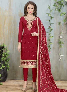 Embroidered Work Faux Georgette Churidar Salwar Suit