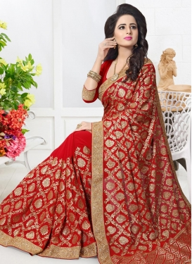 Embroidered Work Faux Georgette Classic Saree For Festival