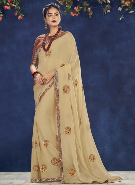 Embroidered Work Faux Georgette Contemporary Style Saree For Festival
