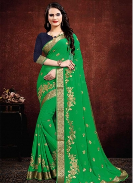 Embroidered Work Faux Georgette Designer Contemporary Saree