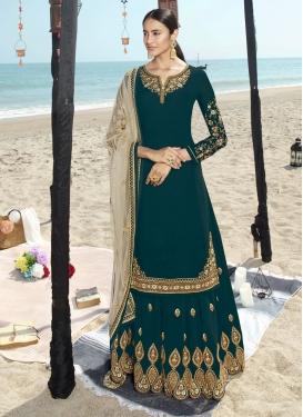 Embroidered Work Faux Georgette Designer Straight Salwar Suit