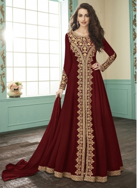Embroidered Work Faux Georgette Floor Length Designer Suit
