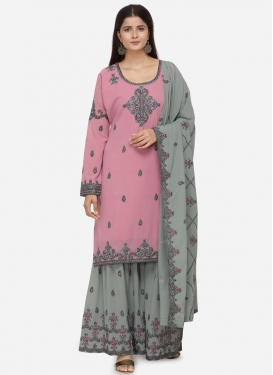 Embroidered Work Faux Georgette Grey and Pink Sharara Salwar Suit
