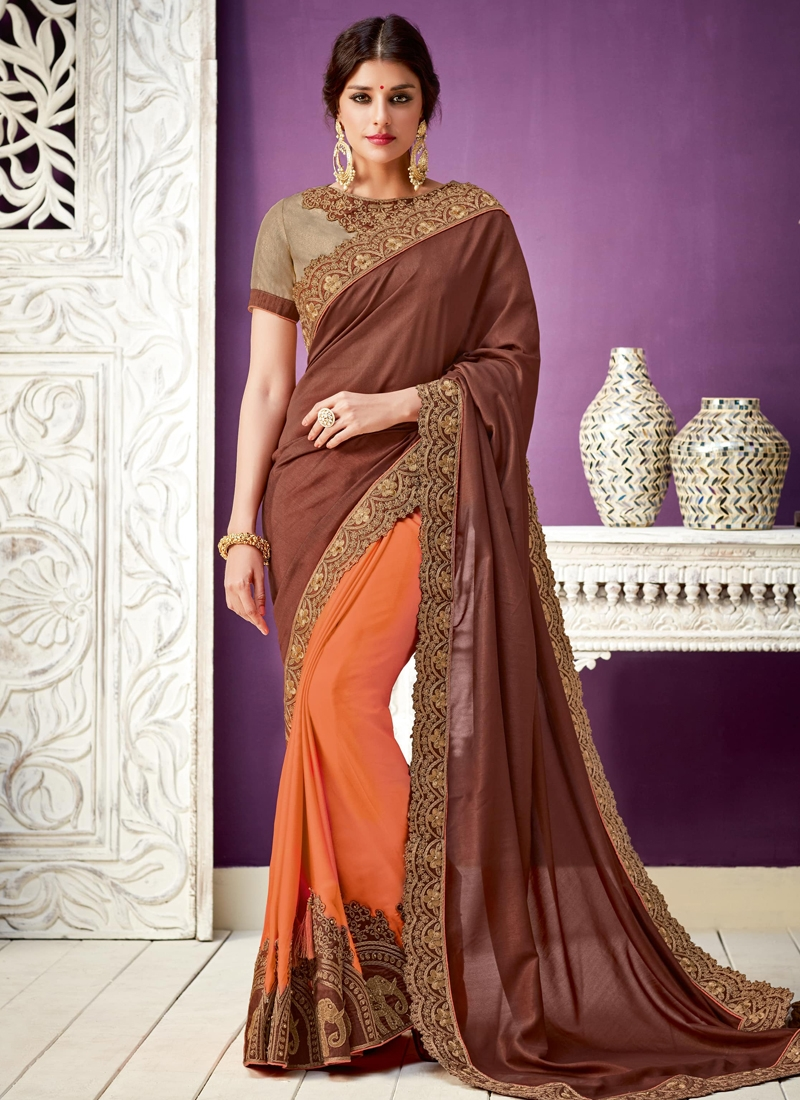 Embroidered Work Faux Georgette Half N Half Trendy Saree For Festival