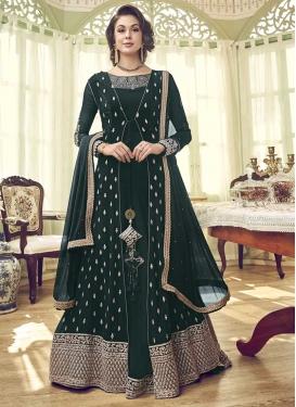 Embroidered Work Faux Georgette Jacket Style Salwar Kameez