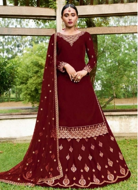 Embroidered Work Faux Georgette Kameez Style Lehenga