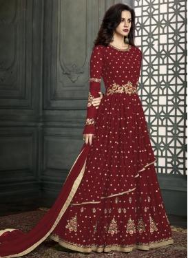 Embroidered Work Faux Georgette Layered Designer Salwar Kameez