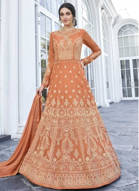 Embroidered Work Faux Georgette Long Length Anarkali Suit