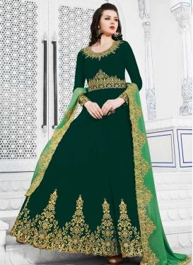 Embroidered Work Faux Georgette Long Length Designer Anarkali Suit
