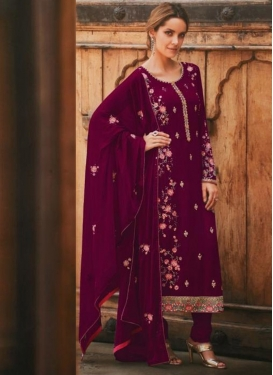 Embroidered Work Faux Georgette Pakistani Straight Salwar Suit