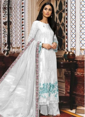 Embroidered Work Faux Georgette Palazzo Style Pakistani Salwar Kameez