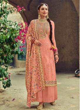 Embroidered Work Faux Georgette Palazzo Style Pakistani Salwar Kameez