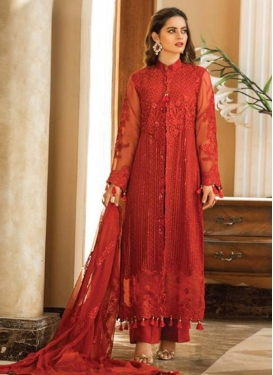 Embroidered Work Faux Georgette Palazzo Style Pakistani Salwar Suit