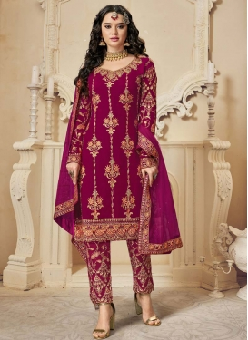 Embroidered Work Faux Georgette Pant Style Classic Salwar Suit