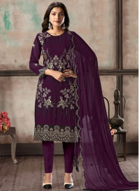 Embroidered Work Faux Georgette Pant Style Classic Suit