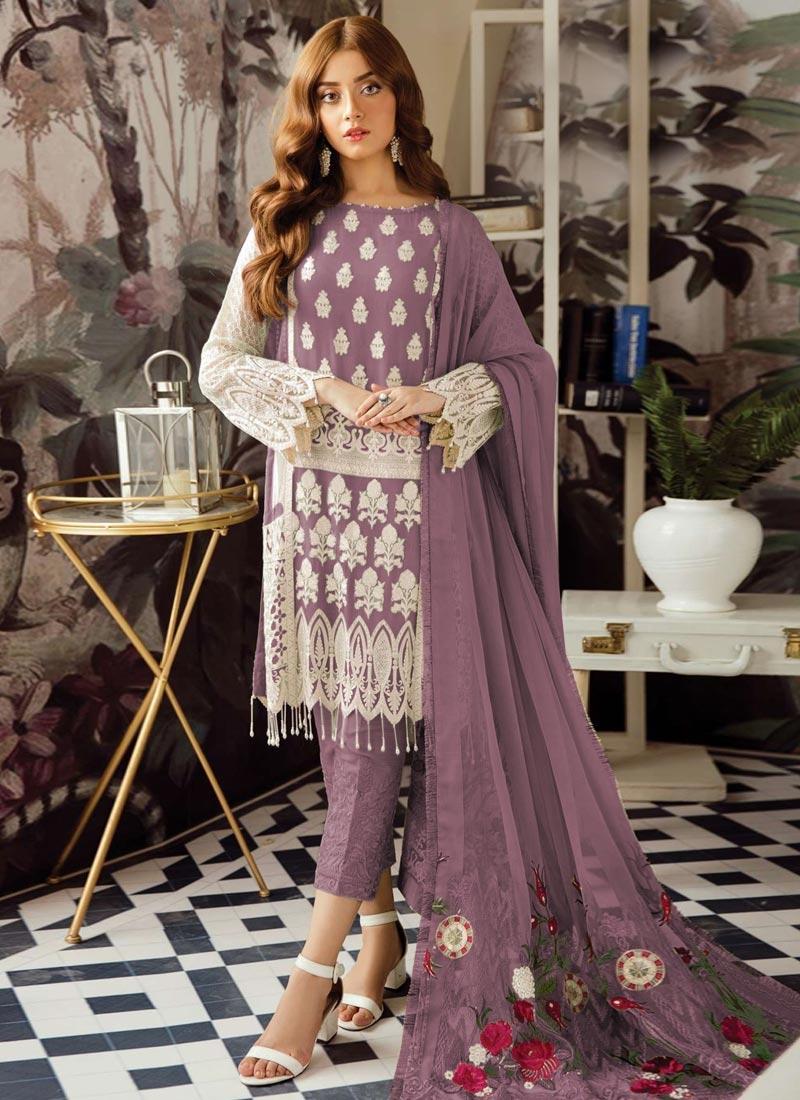 Embroidered Work Faux Georgette Pant Style Designer Salwar Kameez