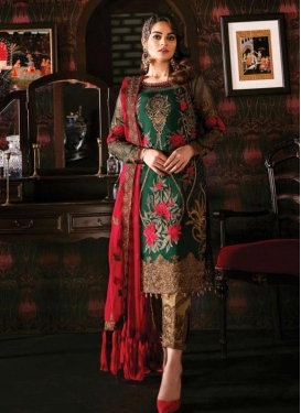 Embroidered Work Faux Georgette Pant Style Designer Suit