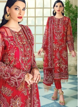 Embroidered Work Faux Georgette Pant Style Pakistani Salwar Kameez