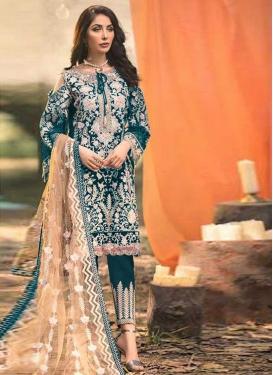 Embroidered Work Faux Georgette Pant Style Pakistani Salwar Kameez