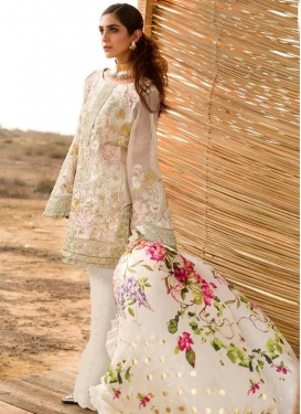 Embroidered Work Faux Georgette Pant Style Pakistani Suit