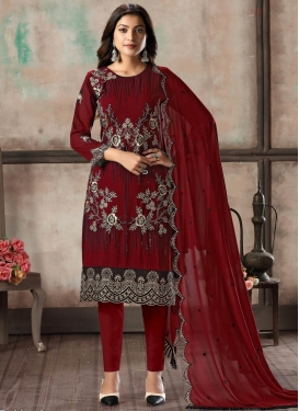 Embroidered Work Faux Georgette Pant Style Straight Salwar Kameez