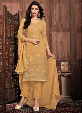 Embroidered Work Faux Georgette Pant Style Straight Salwar Suit