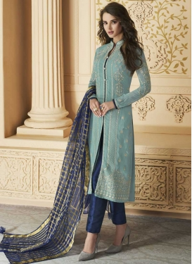 Embroidered Work Faux Georgette Pant Style Straight Suit