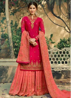 Embroidered Work Faux Georgette Rose Pink and Salmon Sharara Salwar Suit